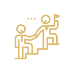 icon of a person climbing and assisting another to represent mentoring